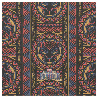 Black Panther | Panther Head Tribal Pattern Fabric