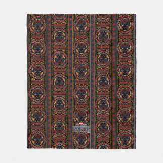 Black Panther | Panther Head Tribal Pattern Fleece Blanket