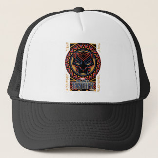 Black Panther   Panther Head Tribal Pattern Trucker Hat