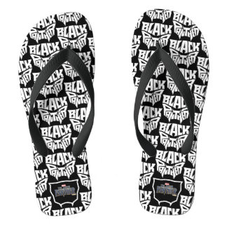 Black Panther | Panther Head Typography Graphic Flip Flops