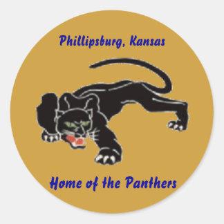 Black_panther, Phillipsburg, Kansas, Home of th... Classic Round Sticker