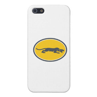 Black Panther Prowling Oval Retro iPhone 5/5S Cover