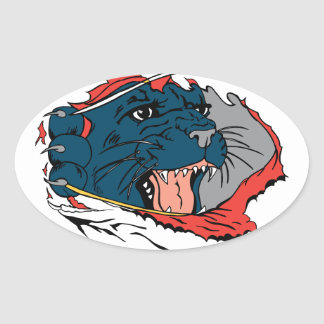 Black Panther Ripping Oval Sticker
