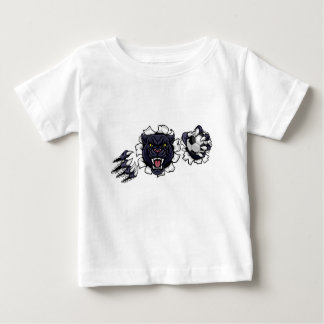 Black Panther Soccer Mascot Breaking Background Baby T-Shirt