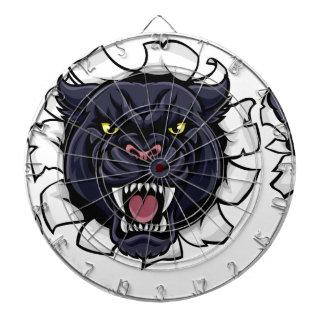 Black Panther Soccer Mascot Breaking Background Dartboard