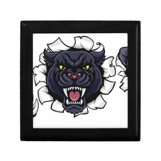 Black Panther Soccer Mascot Breaking Background Gift Box