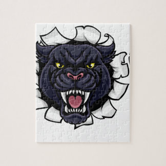 Black Panther Soccer Mascot Breaking Background Jigsaw Puzzle