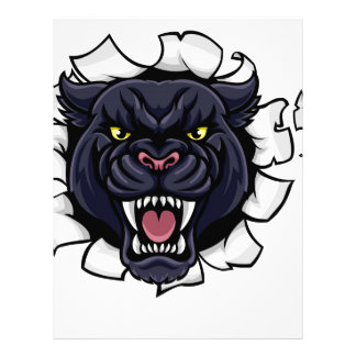 Black Panther Soccer Mascot Breaking Background Letterhead