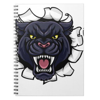 Black Panther Soccer Mascot Breaking Background Notebook