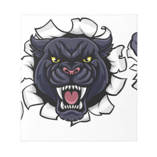 Black Panther Soccer Mascot Breaking Background Notepad