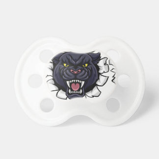 Black Panther Soccer Mascot Breaking Background Pacifier