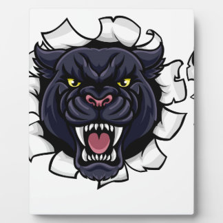 Black Panther Soccer Mascot Breaking Background Plaque