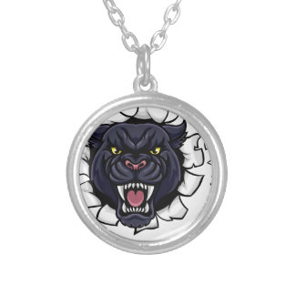 Black Panther Soccer Mascot Breaking Background Silver Plated Necklace