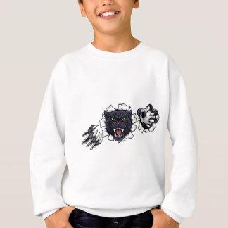 Black Panther Soccer Mascot Breaking Background Sweatshirt