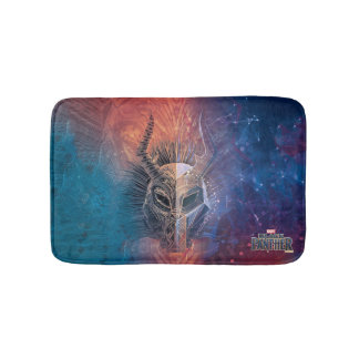 Black Panther | Tribal Mask Overlaid Art Bath Mat