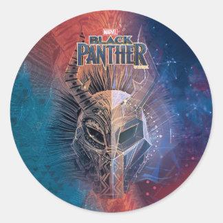 Black Panther | Tribal Mask Overlaid Art Classic Round Sticker