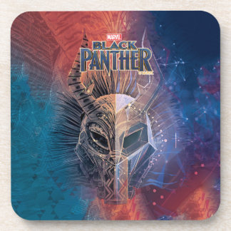 Black Panther | Tribal Mask Overlaid Art Coaster