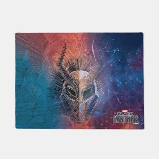 Black Panther | Tribal Mask Overlaid Art Doormat