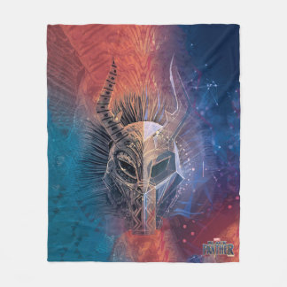 Black Panther | Tribal Mask Overlaid Art Fleece Blanket