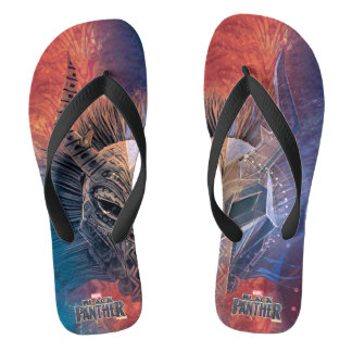 Black Panther | Tribal Mask Overlaid Art Flip Flops