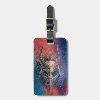 Black Panther   Tribal Mask Overlaid Art Luggage Tag