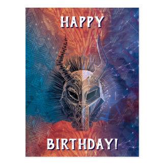 Black Panther   Tribal Mask Overlaid Art Postcard