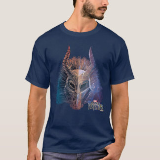 Black Panther   Tribal Mask Overlaid Art T-Shirt