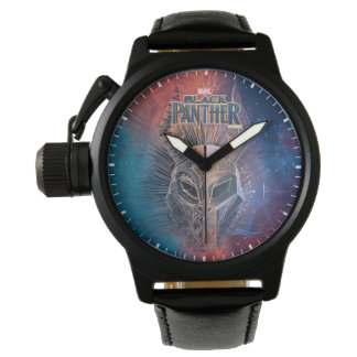 Black Panther   Tribal Mask Overlaid Art Watch