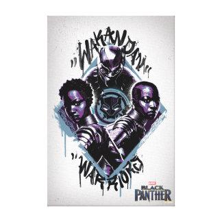 Black Panther | Wakandan Warriors Graffiti Canvas Print