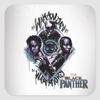 Black Panther   Wakandan Warriors Graffiti Square Sticker
