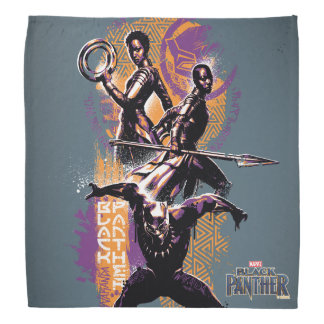 Black Panther   Wakandan Warriors Painted Graphic Bandana