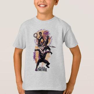 Black Panther   Wakandan Warriors Painted Graphic T-Shirt