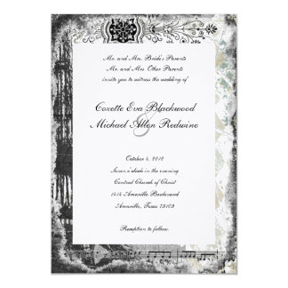 Black Paris Eiffel Tower Music Wedding Invitation
