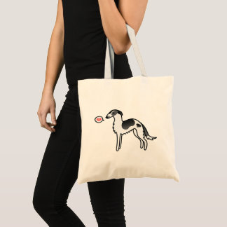 Black Parti-Color Borzoi Dog Love Illustration Tote Bag