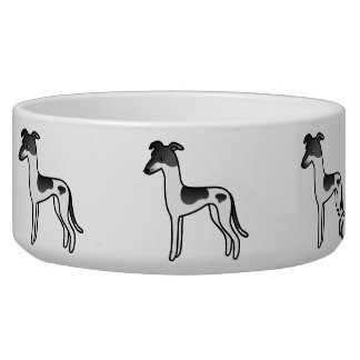 Black Parti-Color Greyhound / Whippet Pet Water Bowls