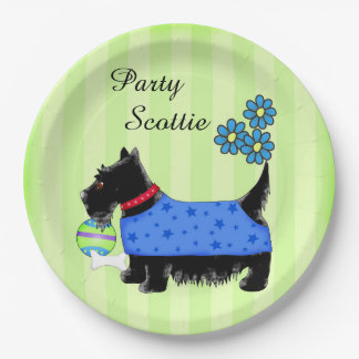 Black Party Scottie Dog Blue Clothes Green Custom 9 Inch Paper Plate
