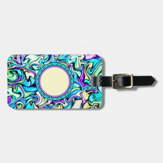 Black & Pastel Abstract Stained Glass Pattern Luggage Tag