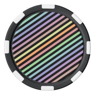 Black & Pastel Color Lines Pattern Poker Chips
