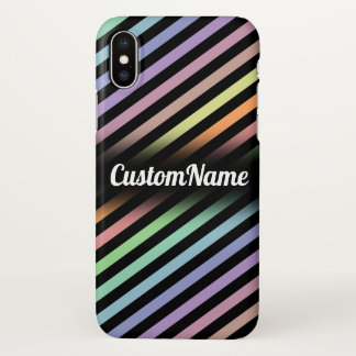 Black & Pastel Color Lines Pattern w/ Custom Name iPhone X Case