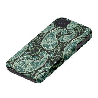 Black & Pastel Green Retro Orante Paisley Pattern iPhone 4 Cover