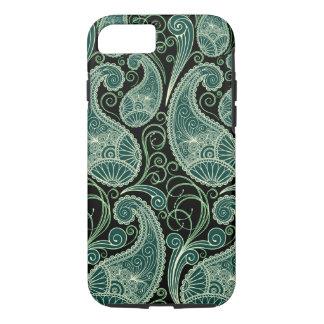 Black & Pastel Green Retro Orante Paisley Pattern iPhone 7 Case