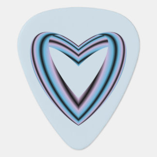 Black Pastel Pink and Blue Heart Guitar Pick