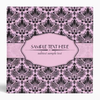 Black & Pastel Pink Elegant Vintage Floral Damask 3 Ring Binder