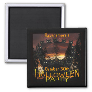 Black Patrol Cats Halloween Party Magnets