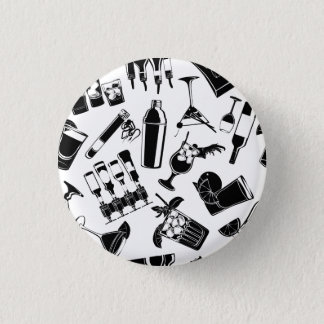 Black Pattern Cocktail Bar 1 Inch Round Button