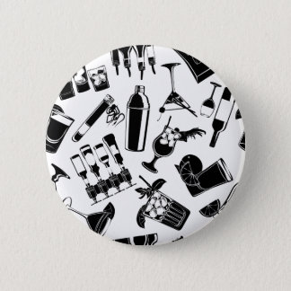 Black Pattern Cocktail Bar 2 Inch Round Button