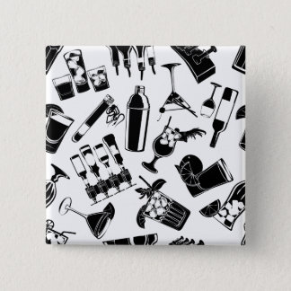 Black Pattern Cocktail Bar 2 Inch Square Button