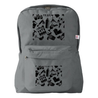 Black Pattern Cocktail Bar Backpack