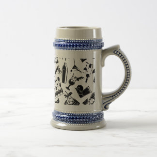 Black Pattern Cocktail Bar Beer Stein