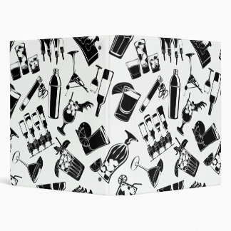 Black Pattern Cocktail Bar Binders